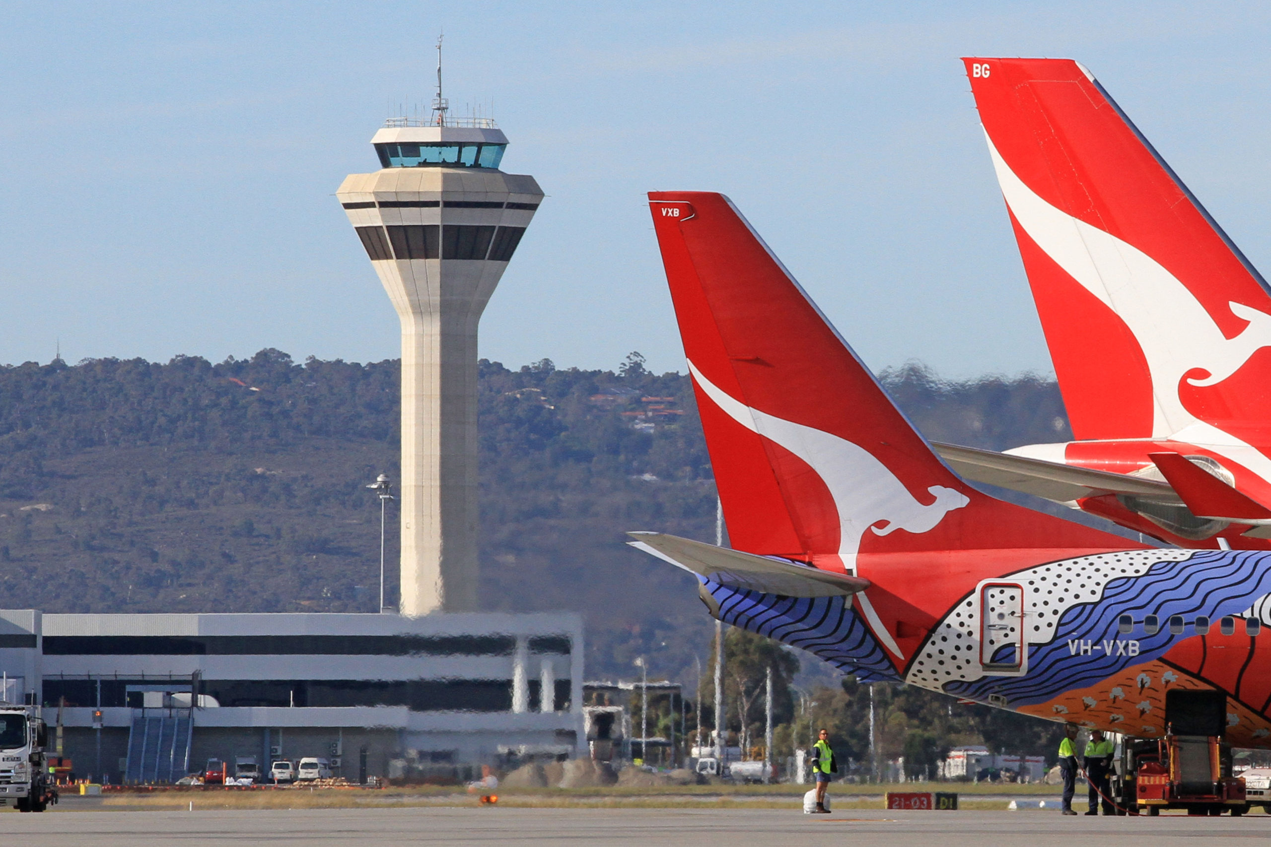 Airservices air traffic control tower at Perth Airport.