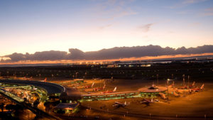 Brisbane Airport at night.