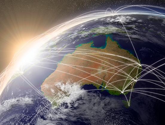Globe view of Australia