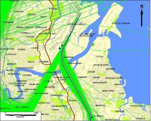 Existing and proposed departure paths