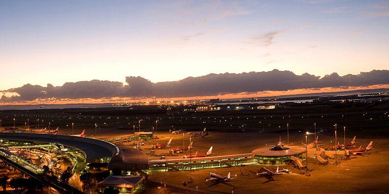 Brisbane Airport at night.