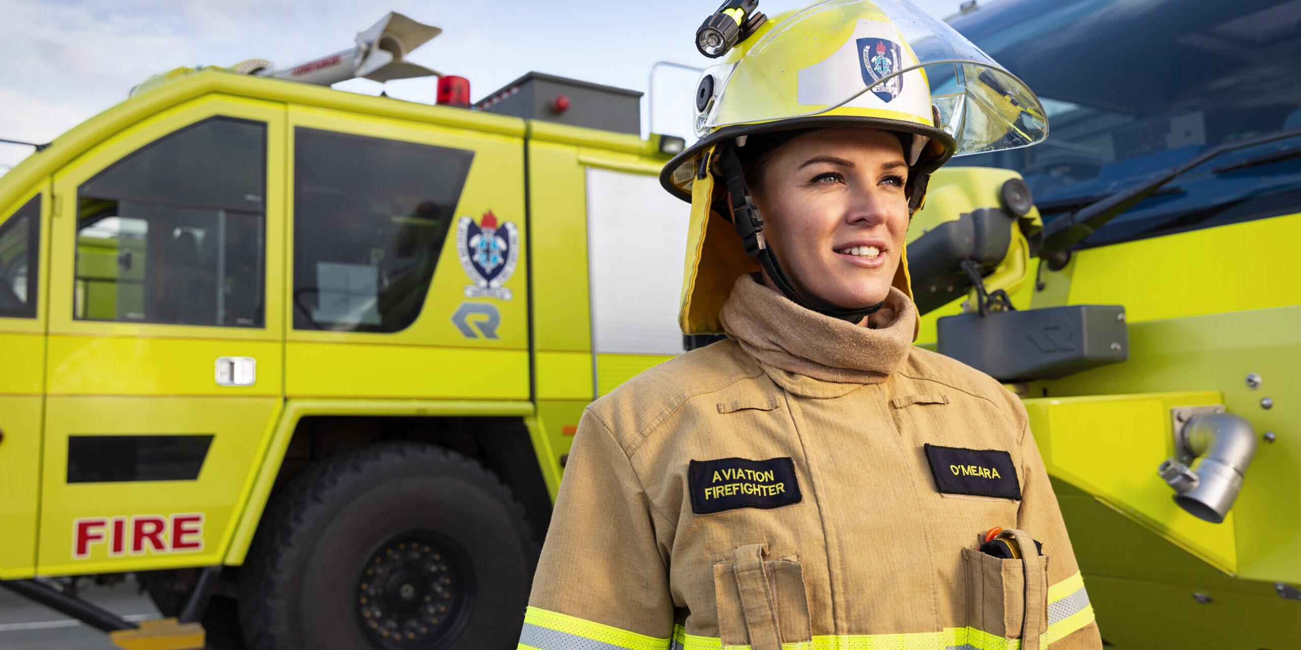A woman aviation firefighter in ARFFS