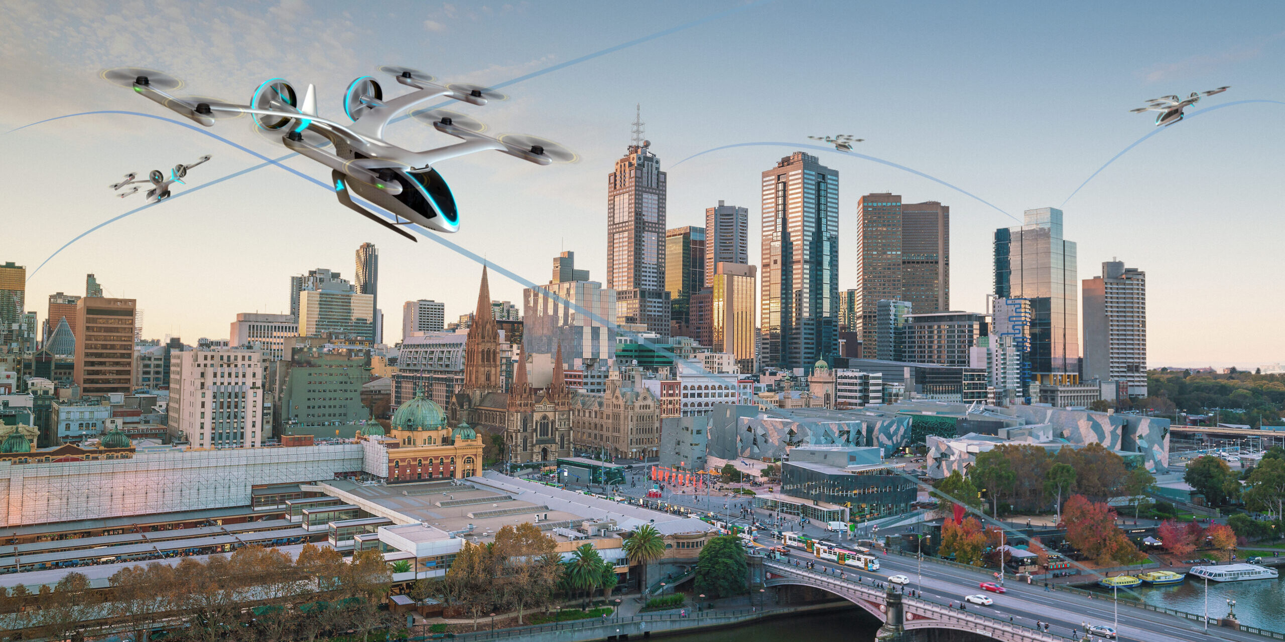 Urban Sky with Drones in Melbourne